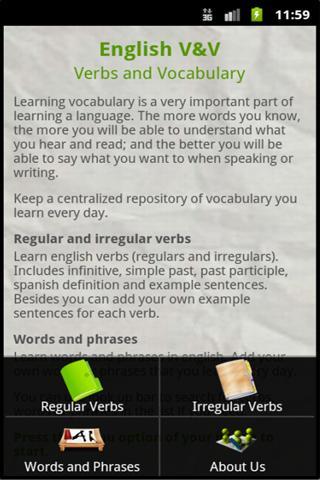 English V V Verbs Vocabulary