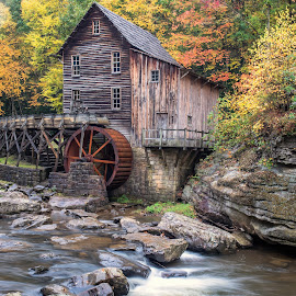 Old Grist Mill by Stevan Tontich - Landscapes Travel ( mill, west virginia, color, waterfall, fall )