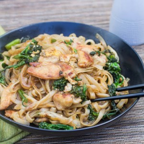 Thai-Style Stir-Fried Noodles with Chicken and Broccolini