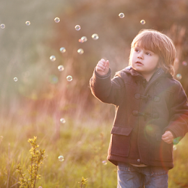 Bubble Bunny by Chinchilla  Photography - Babies & Children Toddlers ( england, little boy, sunset, outdoors, bubbles, toddler, spring )