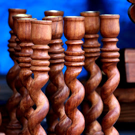 Candle Stands by Anoop Namboothiri - City,  Street & Park  Markets & Shops ( shop, candle stand, wooden, market, artistic, close up )