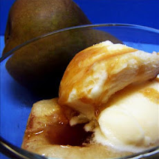 Roasted Pears With Brown Sugar and Vanilla Ice Cream