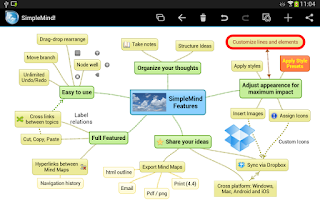 Screenshot of SimpleMind mind mapping