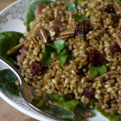 Wheat Berry Salad with Bacon and and Sun-dried Cherries