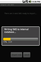 Screenshot of SMS to GMAIL