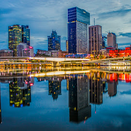 Dawn Reflections by Tracy James - City,  Street & Park  Skylines ( lights, dawn, brisbane, buildings, reflections, bridge, city,  )