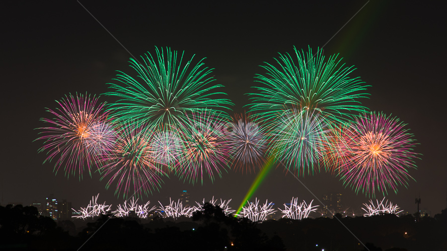 Australia Day Fireworks by Photoxor AU - Abstract Fire & Fireworks ( australia day, perth, fireworks, night, , new, year, renewal, green, trees, forests, nature, natural, scenic, relaxing, meditation, the mood factory, mood, emotions, jade, revive, inspirational, earthly )
