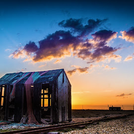 Last of the huts by Andy Smith - Buildings & Architecture Decaying & Abandoned ( kent, sunset, beach, dungeness, fishing-hut )
