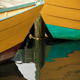 Dory Details by David Stone - Transportation Boats ( water, dories, dory, gloucester, boats, reflections, piling, harbor scene )