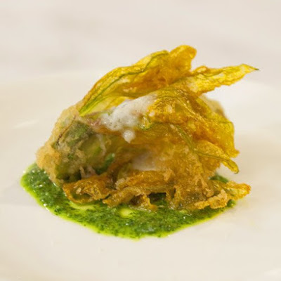 Fried Squash Blossoms with Salsa Verde