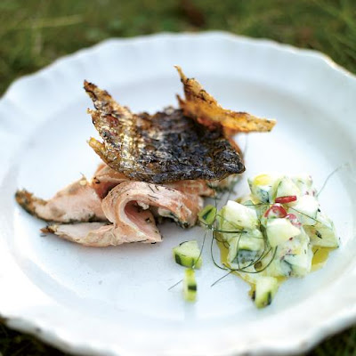 Crispy Barbecued Side Of Salmon With Cucumber Yoghurt