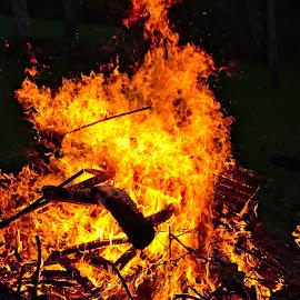 Bonfire by Dunstan Vavasour - Abstract Fire & Fireworks ( bonfire, november, flames, autumn, guy fawkes, burning, derbyshire )