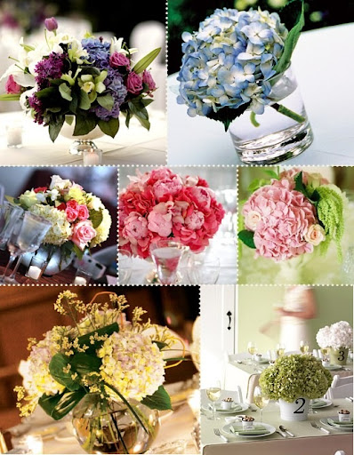 Centerpieces Using Hydrangea As promised here are some pictures of