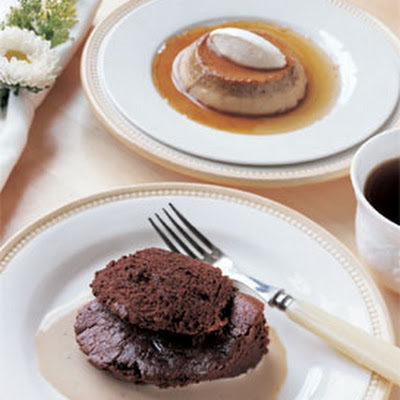 Bittersweet Chocolate Soufflé with Earl Grey Custard Sauce