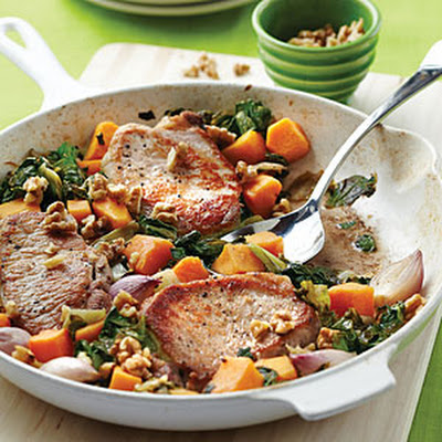 Pork Chops with Butternut Squash, Escarole, and Walnuts