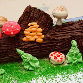 Bûche de Noël  by Mary Smiley - Food & Drink Cooking & Baking ( cake, yule log, mushrooms,  )