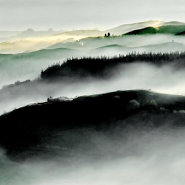 Morning Mist by Winkie Chau - Landscapes Mountains & Hills ( hills, morning glory, sunrise, landscape, misty,  )