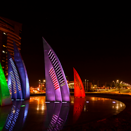 Sails reflections by Robert Namer - City,  Street & Park  Night ( lights, roundabout, cityscapes, sculptures, night photography, city life, city lights, sails, colorfull, night shot, nightscape, city )