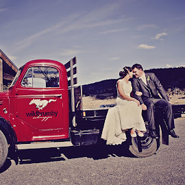 Wild Brumby by Alan Evans - Wedding Bride & Groom ( wedding photography, wedding day, wedding, jindabyne wedding photographer, red truck, aj photography, couple, bride and groom, bride, old truck, groom, couple in love )