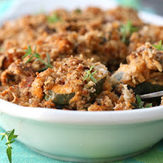Brinjal And Courgette Bake With A Garlic And Parmesan Crumb