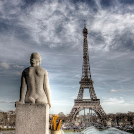 Girl by eiffel by Ben Hodges - Buildings & Architecture Statues & Monuments ( eiffel tower, paris, statue, europe, girl, park, hdr, france, travel, garden )