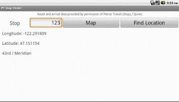 Screenshot of PT Stop Finder