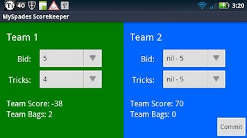 Screenshot of MySpades Scorekeeper