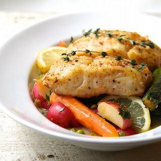 Butter-Basted Halibut with Lemon-Braised Baby Vegetables