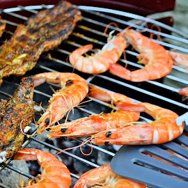 Barbecue by Heather Aplin - Food & Drink Cooking & Baking ( shellfish, fish, heat, barbecue, fire, prawns )