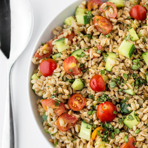 Summer Farro Salad with Tomato , Cucumber & Basil