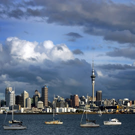 Auckland by Dragan Keca - City,  Street & Park  Skylines ( towers, auckland, boats, harbour, city )