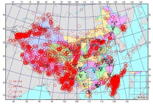 中国地震震中分布图