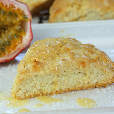 Tropical Coconut Scones with Passion Fruit Glaze