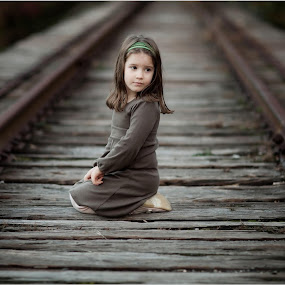 cute child in railway track by Dinesh Kumar - Babies & Children Child Portraits ( child, beautiful, track )