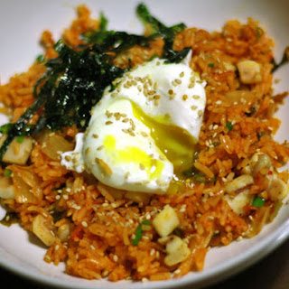 Kimchi Fried Rice with Sautéed Squid and a Poached Egg