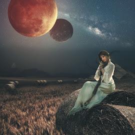 Hidden Place by Karazy Shooke - Digital Art Places ( milkyway, sky, girl, fantasi, dgital art, place )