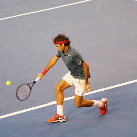 Federer's backhand by Matt Walsh - Sports & Fitness Tennis ( melbourne, roger federer, australia, australian open, federer, travel, tennis )