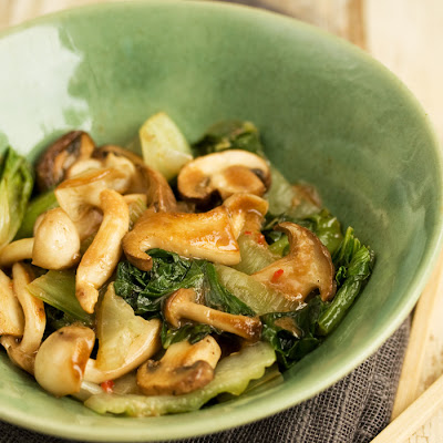 Bok Choy And Mushrooms Flash Cooked With A Miso Dressing