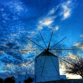 Blue sunset by Eva Ba - Instagram & Mobile Android ( sky, paros, blue, sunset, greece, travel, view, windmill )