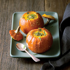 Pumpkin Soup with Pumpkin Seed-Mint Pesto