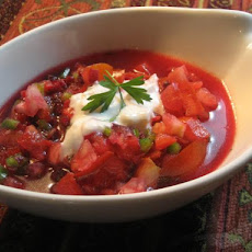 Summer Gazpacho With Garlic Cumin Sauce