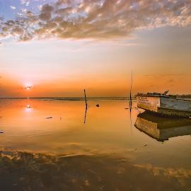 Warm morning light by Yossy Ryananta - Landscapes Sunsets & Sunrises ( shore, reflection, sunrise, beach, seascape )