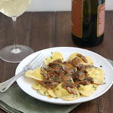 Homemade Four-Cheese Ravioli Hearts with Porcini Mushroom Sauce
