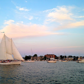 Annapolis Schooner by Lisa Rath - Instagram & Mobile iPhone ( clouds, chesapeake, harbor, bay, sunset, sea, sailboat, schooner )