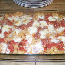 Pasta, Tomato, and Mozzarella Al Forno