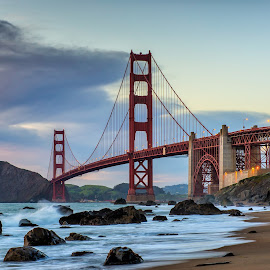 Golden Gate Bridge at sunset by Sebastian Holzapfel - Buildings & Architecture Bridges & Suspended Structures ( golden gate bridge, 2014, baker beach, san francisco, marshall beach, usa )