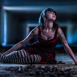 Away by Terry Pitman - People Body Art/Tattoos ( indiana, model, pattern, bunker, blue, tattoos, shallowdof, decrepid, gels, gypsy, abandoned )