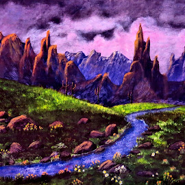 desert painting by Leslie Collins - Painting All Painting ( mountains, desert, grass, flowers, painting, river )