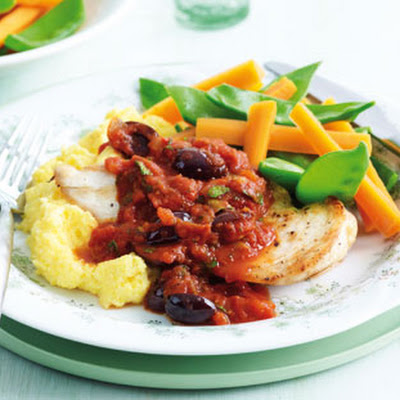 Mediterranean Chicken With Polenta
