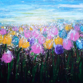 Tulips at Sunrise by Kume Bryant - Painting All Painting ( plant, seasonal, colorful, farmland, tulips, yellow, spring, blossom, sun, farm, sky, nature, pink, black, flower, abstract, purple, green, cloudscape, multicolor, horizon, scenic, morning, rural, early morning, field, blue, outdoors, cultivated, cloud, sunrise, view, garden )